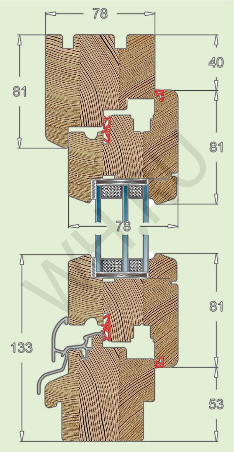 классическое деревянное евроокно